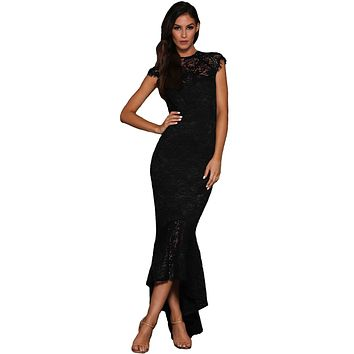 Black Lace Overlay Embroidered Mermaid Dress