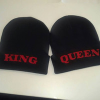 Queen & King Beanies for Couples with Custom Embroidery
