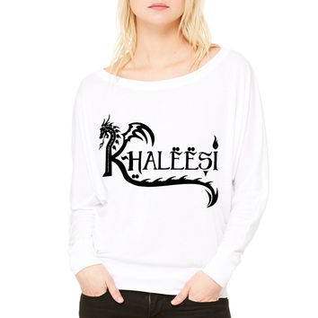 Khaleesi WOMEN'S FLOWY LONG SLEEVE OFF SHOULDER TEE