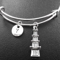 3D Lucky charm, Asian jewelry,  Pagoda Charm Stainless Steel Expandable Bangle, monogram personalized item No.786