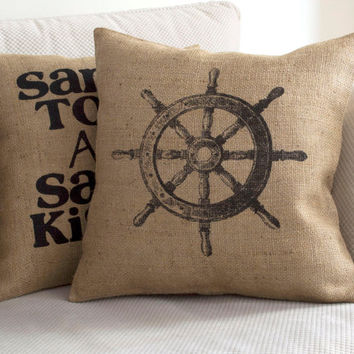 Rudder Pillow Cover - Burlap Pillow Nautical Beach Pillow Coastal Chic Rudder Burlap Art Print Shabby Chic Nautical Pillow Rustic Home Decor