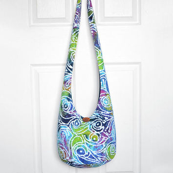 Hobo Bag Boho Bag Hippie Purse Crossbody Bag Sling Bag Bohemian Purse Hobo Purse Hippie Bag Batik Geometric Tie Dye Batik Hobo Bag Handmade