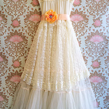 ivory white & pale peach lace tulle princess wedding dress by mermaid miss k