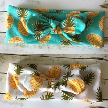 Pineapple Top Knot Headband / Twisted turban headband / Aqua Pineapple / White Pineapple / Dole whip