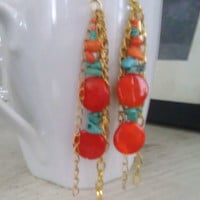 Bohemian Red and Turquoise Dangle Earrings
