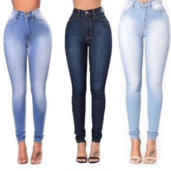 Womens Ladies High Waisted Slim Denim Pants Skinny Jeans Stretch Pencil Trousers