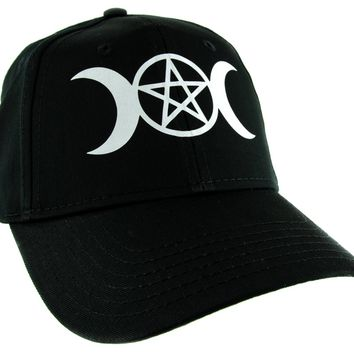 Crescent Moon Triple Goddess Symbol Hat Baseball Cap Alternative Clothing Snapback