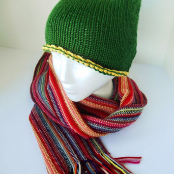 Knit cat ear hat, gameday baylor hat, owl hat, green and gold hat