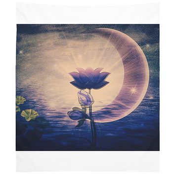 Purple Lotus Tapestry Wall Hanging Dark Purple Bohemian Decor Neutral Colors