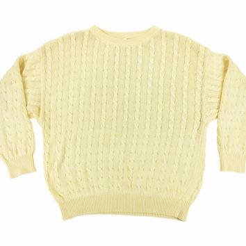 SALE Vintage Cable Knit Sweater in Pale Yellow - Pullover Jumper Preppy Ivy League Menswear - Men's Size Medium Med M