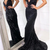 sexy mermaid long black sequined prom dresses,spaghetti straps backless v neck shiny party dress from prom dress