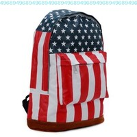 Canvas American US Flag Backpack Shoulder Bag Rucksack School Satchel Handbag:Amazon:Sports & Outdoors