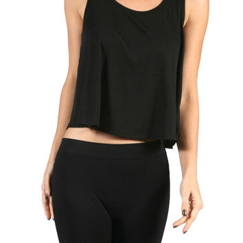 Scoop Neck Flared Hem Cropped Sleeveless Tank Top Shirt w/ Button Back