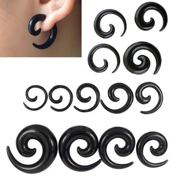 2.5-12mm 7 Pairs Acrylic Black Spiral Taper Ear Expanders Plug Gauges Ear stretching Ear Plugs Tunnels Body Piercing Jewelry