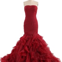 COCOMELODY Women's Mermaid Long Strapless Pleated Ruffled Evening Dress