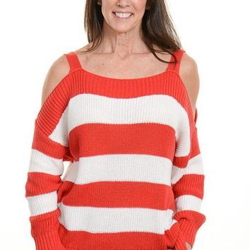 Red Striped Open Shoulder Sweater