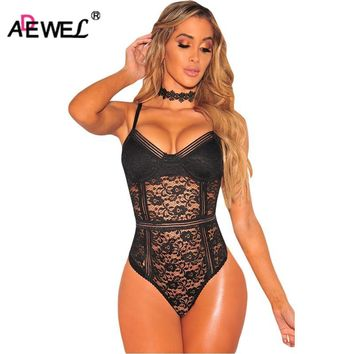 ADEWEL 2017 Sexy Spaghetti Strap Woman Lace Bodysuit Rompers Ladies Padded Bodysuit Top Bodycon Jumpsuit Body