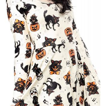 Sourpuss Clothing Women's Black Cats Skater Dress - Cream