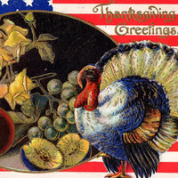 Colorful Antique Patriotic Thanksgiving Greetings Postcard 1909