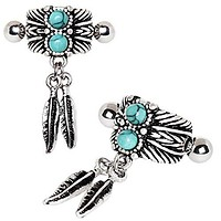 316L Stainless Steel Turquoise & Feather WildKlass Cartilage Cuff Earring