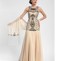 Sue Wong N5242 Champagne & Black Beaded Illusion Pleated Long Dress Fall 2015
