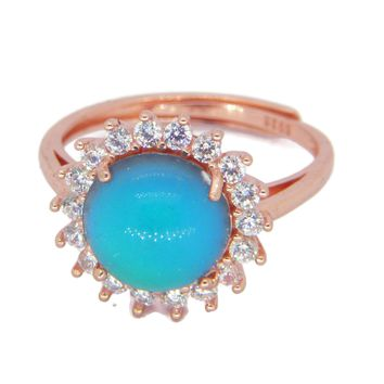 Rose Gold Plated Crystal Mood Ring