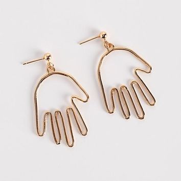 2017 Korean Funny Ear Accessories Personality Earrings For Women Attractive Alloy Hand Face Shaped Pendientes Drop Earrings