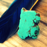 Large Turquoise Chunk Ring Adjustable