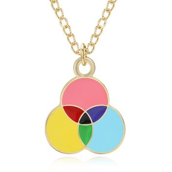 Lovely Cartoon Three Round Enamel Colorful Charms Pendants Rainbow Balloon Necklace For Women Gold Chain Choker Jewelry Collares