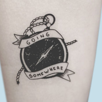 Compass Temporary Tattoo, Compass Art, Hipster Temporary Tattoo, Large Temporary Tattoo, Gift For Men, Gift For Boyfriend, Birthday Gift