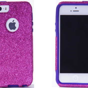 iPhone 5/5S Otterbox Custom Glitter Commuter Raspberry Pink Sparkly Bling Cute Otterbox iPhone 5/5S Case