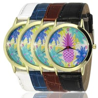 Designer's Great Deal New Pineapple Arrival Stylish Awesome Good Price Trendy Gift Hot Sale PU Leather Watch [8655033671]