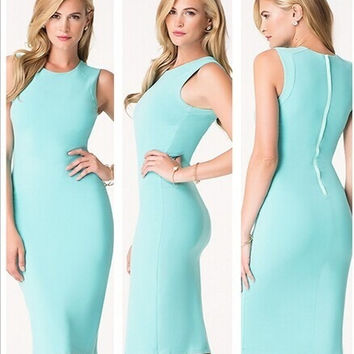 Feelingirl New Ladies' Sexy O-Neck Fashion Celebrity Bandage Pencil Dress Women Work Slim Knee-Length Party Bodycon OL Dress Back Zipper = 1696960260