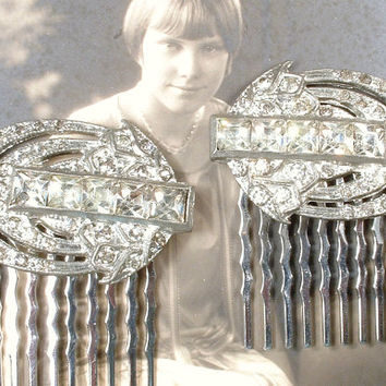 OOAK Art Deco Bridal Hair Combs, 1920s 1930s Pave Rhinestone Dress Clips to Bridal Accessory Hairpiece Great Gatsby Wedding Headpiece Pair