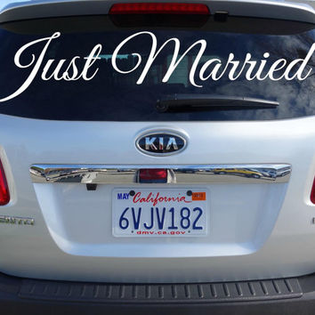 Just Married Back Window Wedding Decor w/ Names | Removable Just Married Car Window Decal