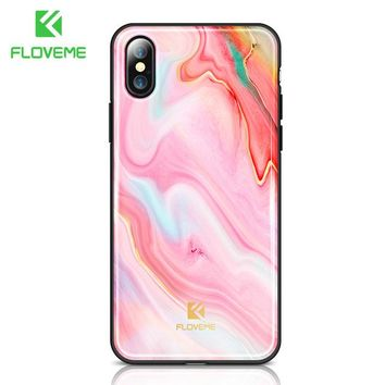 Luxury Phone Case For iPhone X Soft Edge Agate Pattern Cases for Apple iPhone 7 7 8 Plus Cover Silicone Accessories