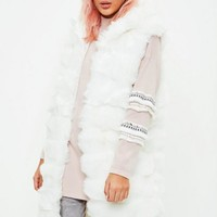 Missguided - Cream Hooded Longline Pelted Vest