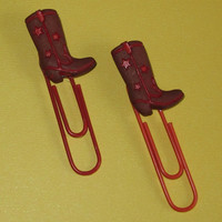 Cowboy Boot Paper Clips for Planners, Organizers, Filofax, Bookmarks, Teachers - Set of Two - Jumbo Paper Clips
