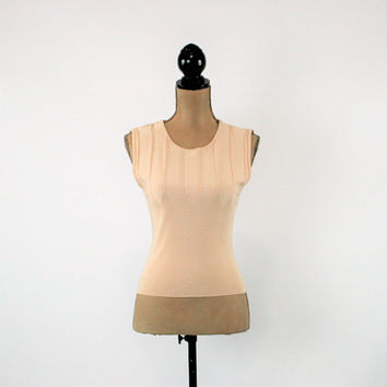 Sleeveless Top Beige Knit Top Womens Summer Top XS Small Petite Clothing John Paul Richard Vintage Clothing Womens Clothing