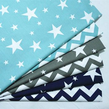 50*160cm Stars Wave printed fabric 100% Cotton Twill cloth For DIY bedding cloth Sewing patchwork quilting fabrics