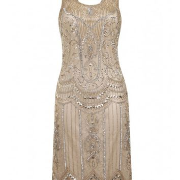 Ziegfeld Embellished Dress Stone