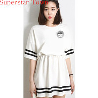 2016 Summer A line Dress KPOP Bangtan Boys BTS Black / White Jung Kook Jin V Cotton Support Dresses New