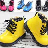 fashion children shoes PU leather boys girl's martin boots kids snow boots Spring fall = 1931744388