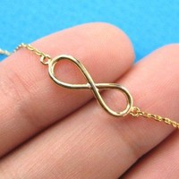 Classic Infinity Loop Promise Friendship Bracelet in Gold Plated Brass