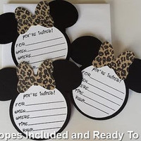 Minnie Mouse Leopard/Cheetah  Invitations With Envelopes, Minnie Mouse Ears With Leopard Bow, Minnie Mouse Birthday Party-READY TO SHIP!