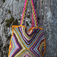 Unique Crochet Wool Purse - Rainbow Diamonds and Butterflies - Textured, Shoulder Bag