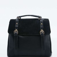 Black Suede Convertible Backpack - Urban Outfitters