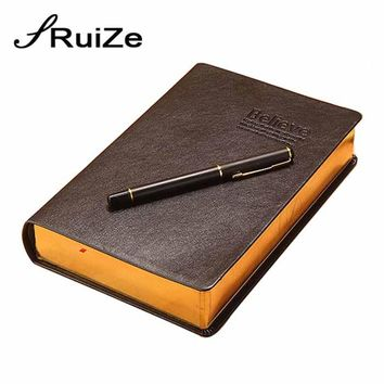 RuiZe vintage thick notebook bible notes book journal leather notebook blank paper gold edge office school creative stationery