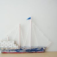 Wooden sailboat sculpture, Greek folk art sailboat from recycled beehives, two sided colourful boat for shelf, or wall, Greek sailboat