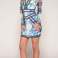 Clothing : Bodycon Dresses : 'Kia' Blue Printed V Neck Bodycon Dress